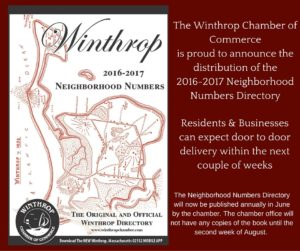 The Winthrop Chamber of Commerceis proud to announce the distribution of the 2016-2017 Neighborhood Numbers Directory