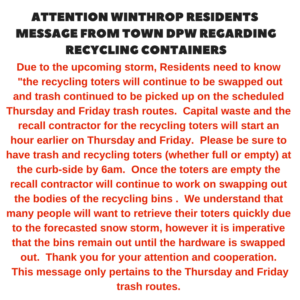 Message From DPW Regarding Recycling Totes